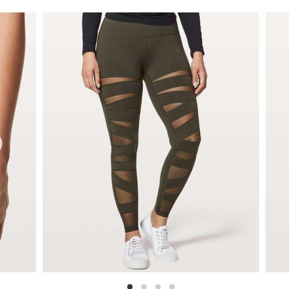 """lululemon wunder under leggings tech mesh 28"""" sz 4"""